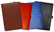 british tan, red, blue and black leather calendar covers